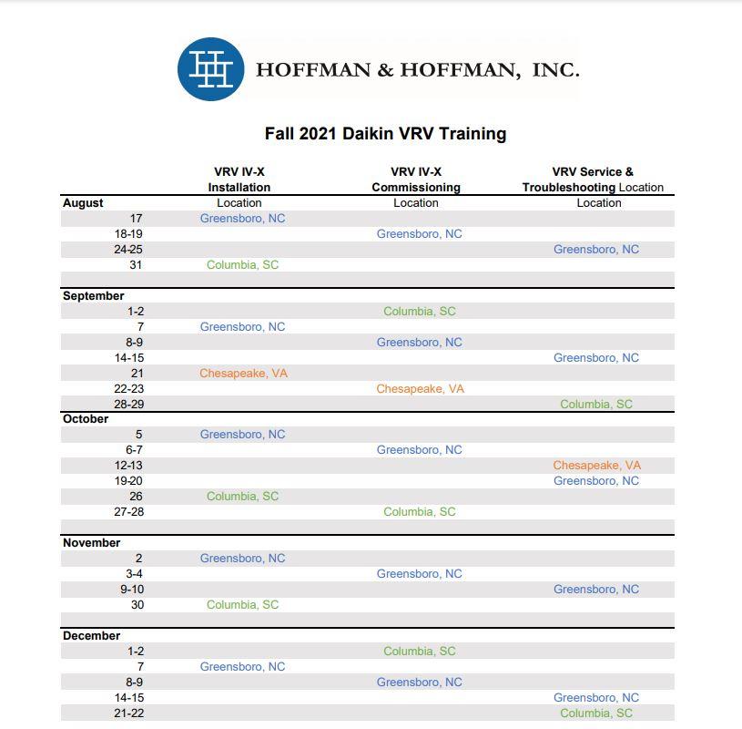 Fall 2021 Daikin VRV schedule snippit
